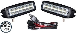 2 - 18watt High Powered LED Lights with Wiring Harness